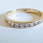 Channel Set Diamond Wedding Band in 18k Yellow Gold ~ circa early 1980's