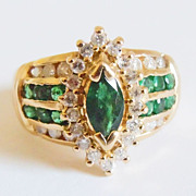 Genuine Emerald & Diamond Ring in 14k Yellow Gold ~ circa mid-1980's