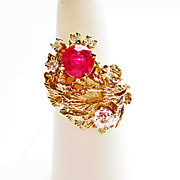 Diamond & Ruby Dinner RIng in 14k YG ~ circa 1980's