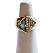 Aquamarine & Diamond Ring in 18k YG ~ circa 1late 1980's