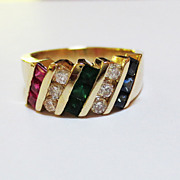 Multi-Stone & Diamond Ring in 14k YG~! circa 1970