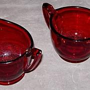 SALE Royal Ruby Sugar Bowl and Creamer