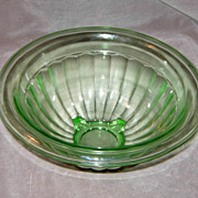 SOLD Anchor Hocking 9 ½ Inch Green Depression glass Paneled Mixing Bowl
