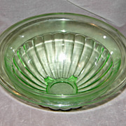 SOLD Anchor Hocking 10 Inch Green Depression glass Paneled Mixing Bowl