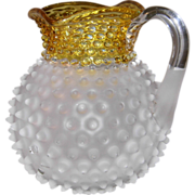 Hobbs Francis Ware Frosted Hobnail Yellow/Amber Square Top Lemonade/Cider Pitcher