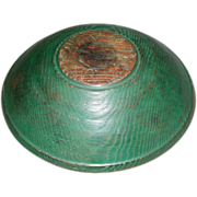 SALE 19th Century Hand-Turned Butter Bowl in Green Paint