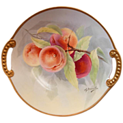 "Limoges Hand Painted ""Peaches on a Branch"" Charger signed A. Bronssillon"