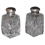 Cut Crystal Salt and Pepper Shakers w/Sterling Silver Caps