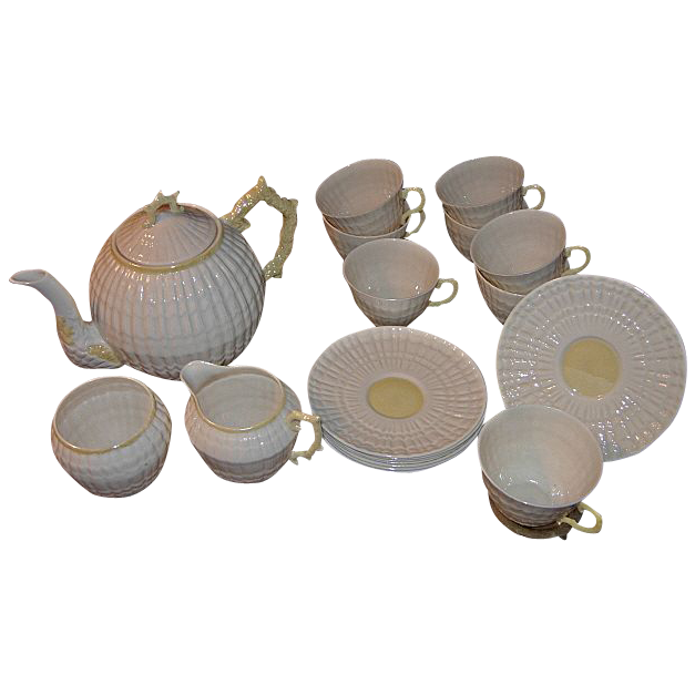 "20 Piece Irish Belleek ""Limpet Pattern"" Tea Set"