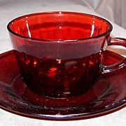 SALE PENDING Anchor Hocking Royal Ruby Cup & Saucer