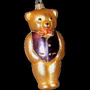 SALE German Made KREBS Glass Bear Ornament