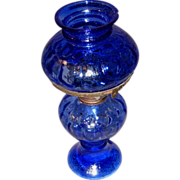 Vintage Blue Glass Miniature Hurricane Lamp