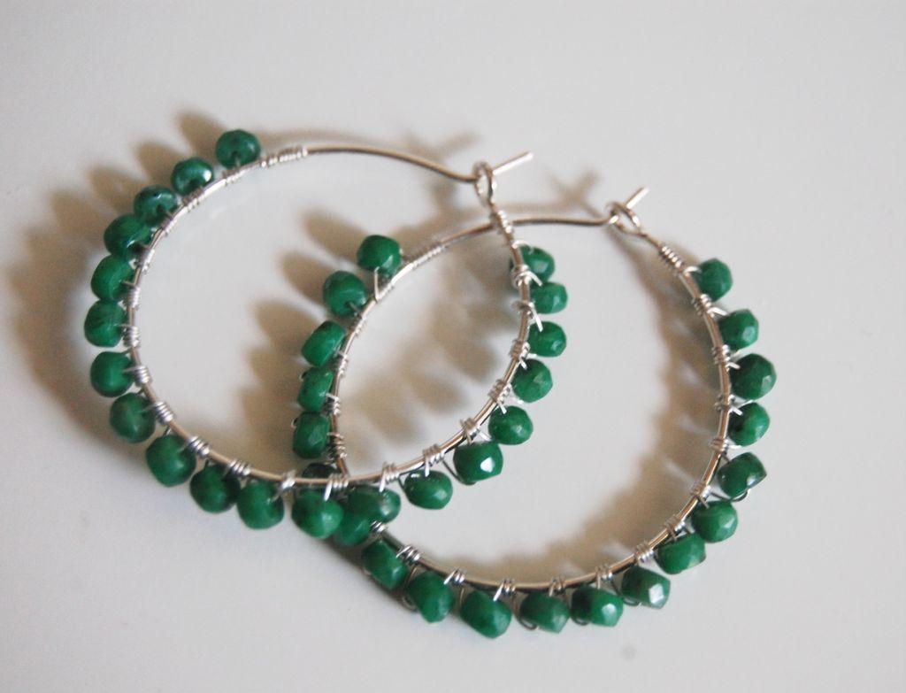 Sterling silver Hoop earrings with Genuine Emerald