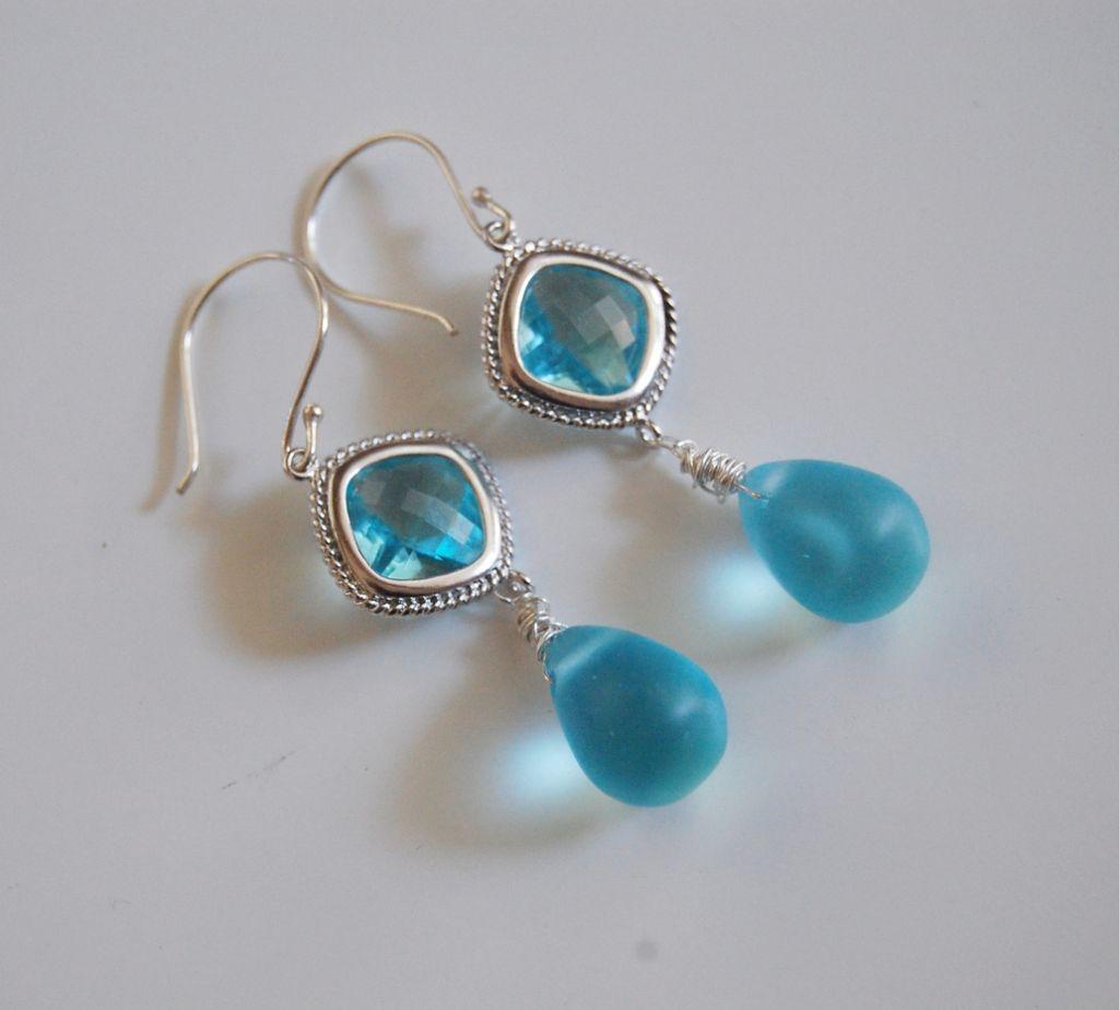 Mist Blue Quartz And Aquamarine Glass Dangle Earrings