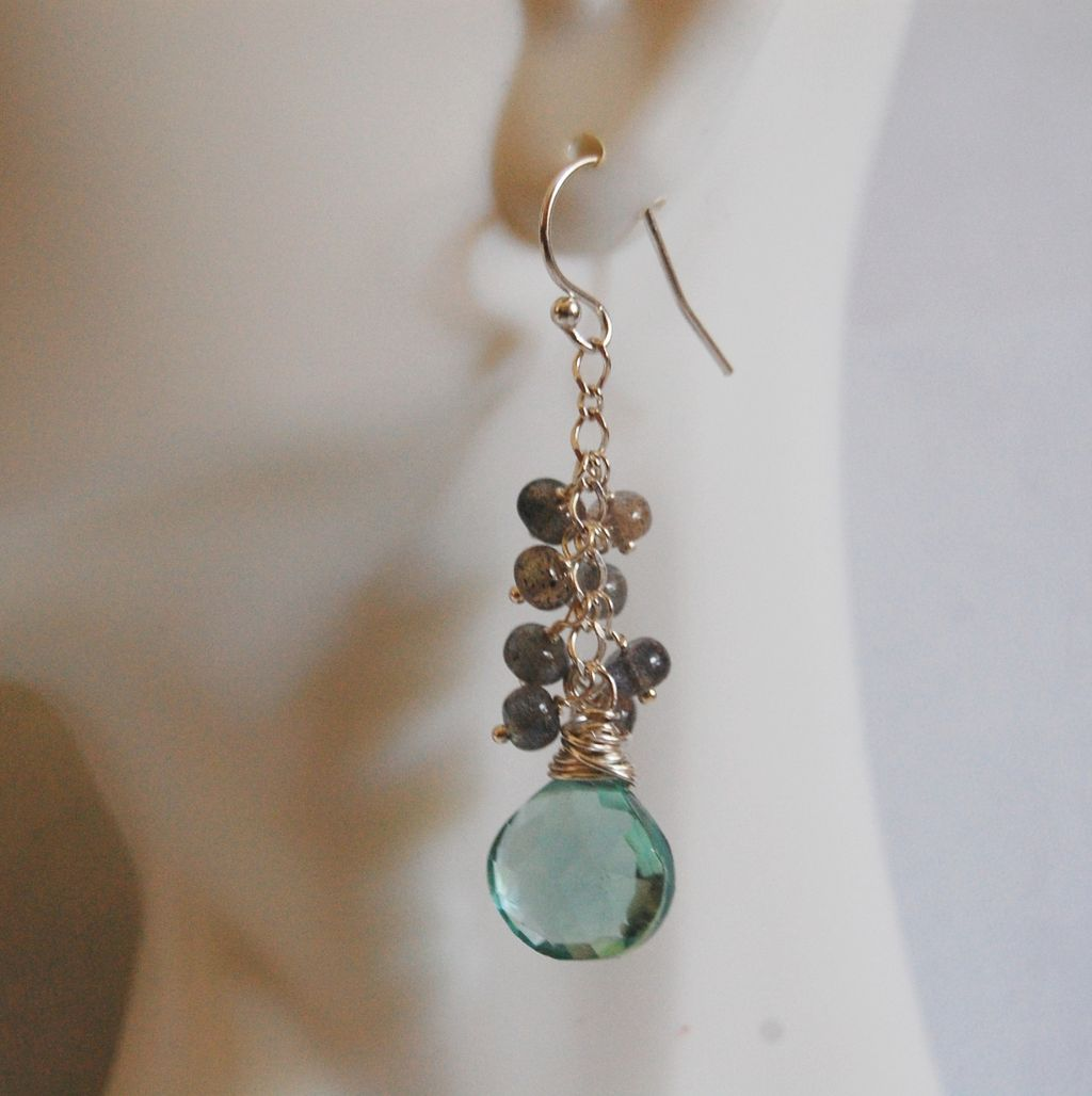 Gemstone Earrings- Gorgeous Sage Green Quartz and blue flashy Labradorite- dangle Earrings