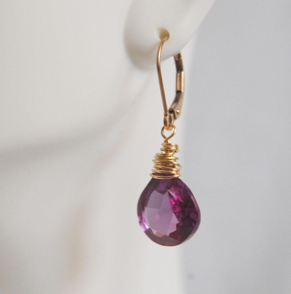 Gemstone ALEXANDRITE Quartz Dangle Drop Earrings