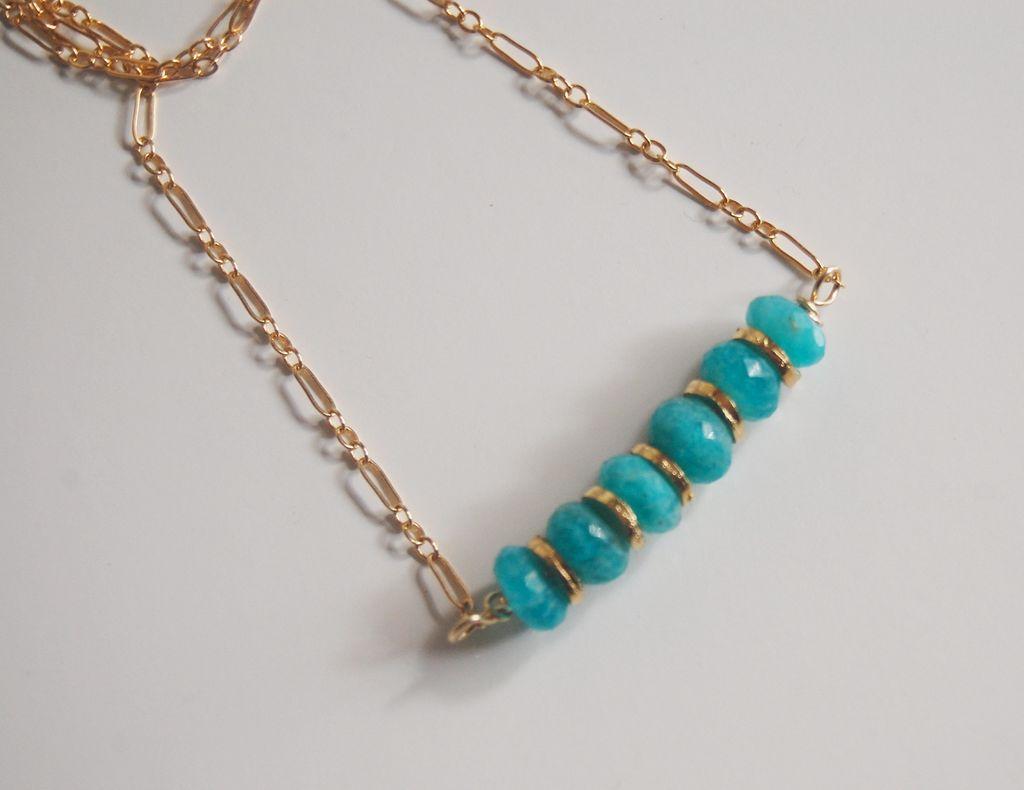 Brazilian Amazonite Necklace - Gemstone Amazonite necklace, Beadwork Necklace,Gold filled Chain