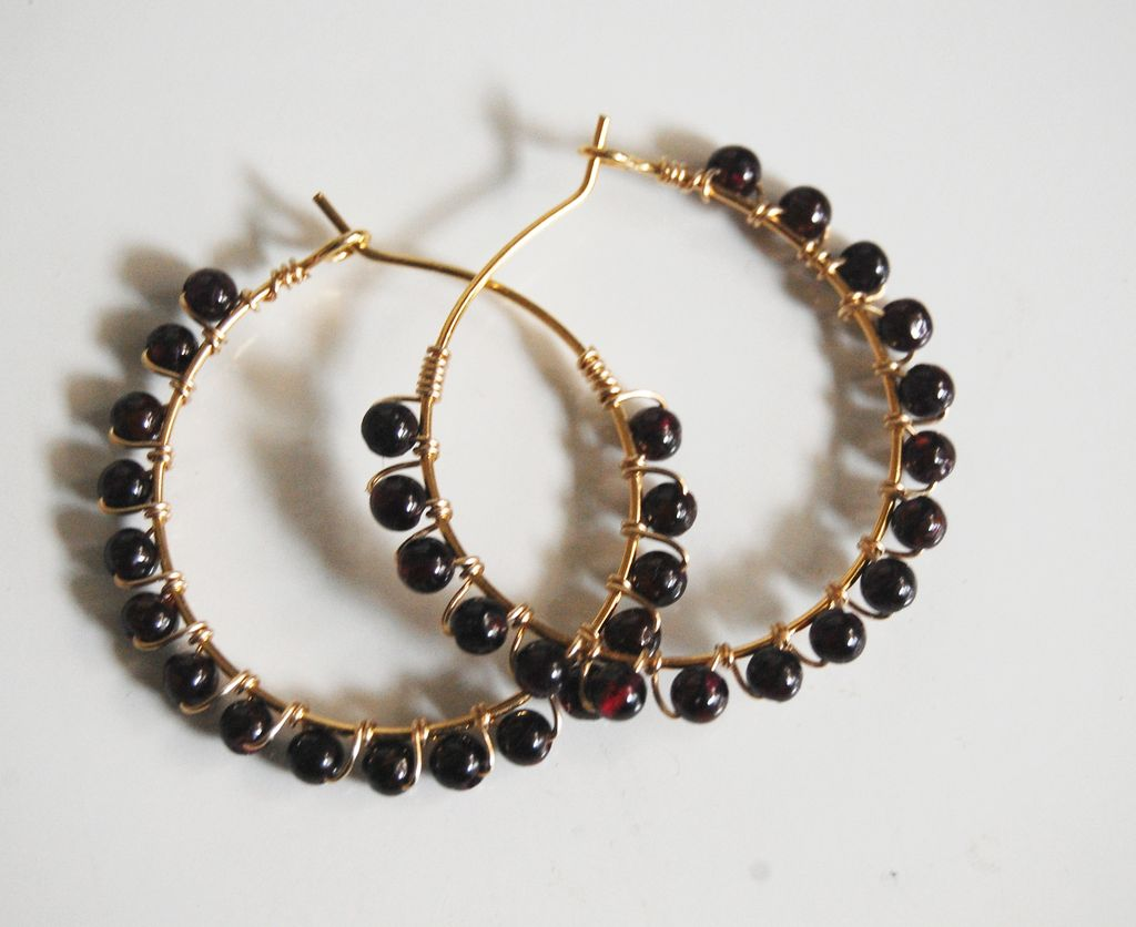 Garnet Hoop Earrings- Birthstone hoop Earrings -Gemstone Hoop Earrings on Gold filled