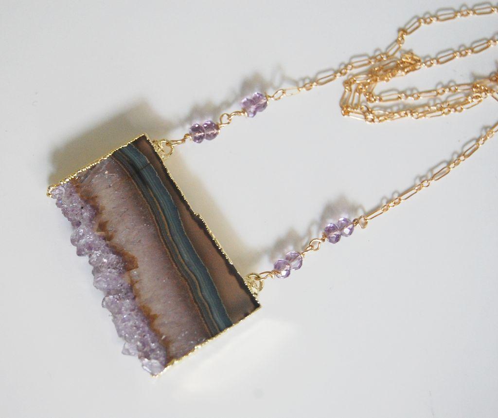 Gemstone Amethys Necklac-Amethyst Slices 24k gold edge double bail necklace - Handmade Druzy amethyst slice drusy pendant - Exclusive design