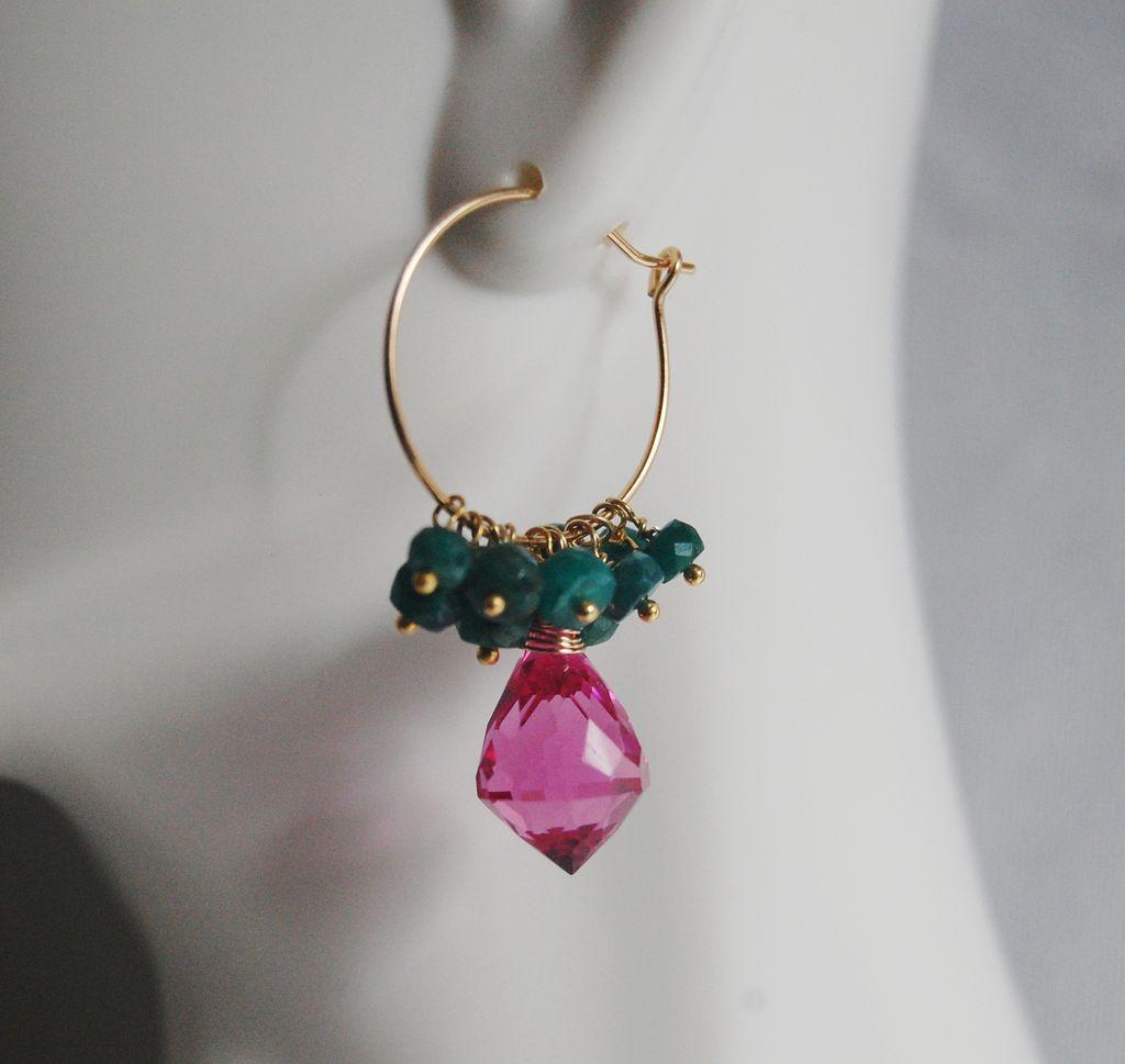 Gemstone Hoop Chandelier Earrings - Hot Pink Quartz and Gorgeous Emerald Hoop Chandelier Earrings