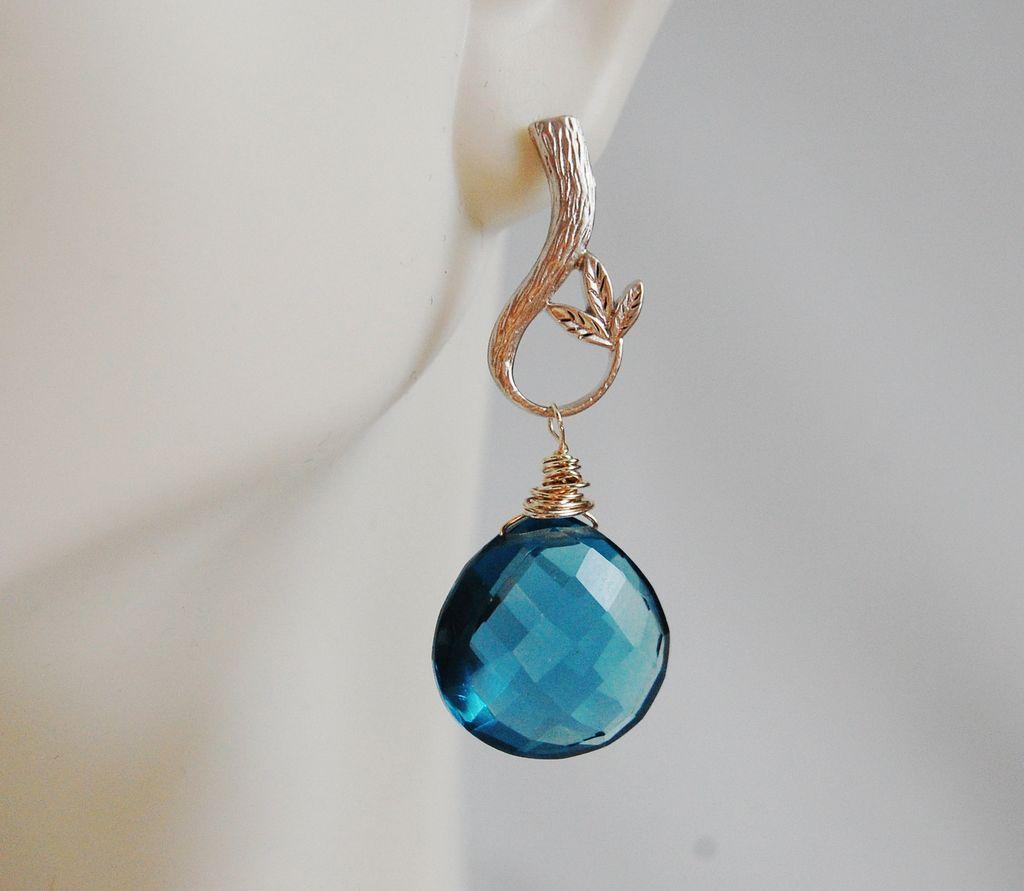 London Blue Quartz Drop Dangle Earrings- Wedding Jewelry - bridal Jewelry