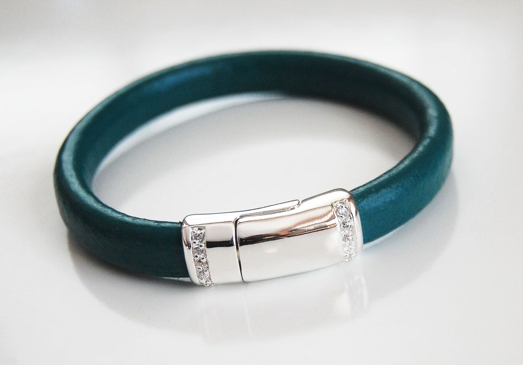 Teal Green Licorice Leather Bracelet With silver Pave Magnetic Clasp- Leather Bracelet - Bangle Bracelet