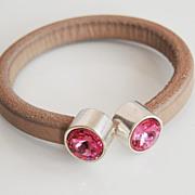Rustic Putty Colored Licorice Leather Bracelet-Bangle bracelet- Memory wire Bracelet With Rose Swarovski Crystal