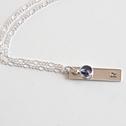 Personalized Handstamped Bar Necklace- Initial Bar Necklace- Birthstone Necklace- Wedding Jewelry- Bridal Accessories- Bridesmaid Necklace