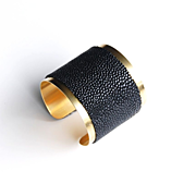 Cuff Stingray Bracelet -Jet Black Genuine Stingray Leather Cuff Bracelet - Cuff Bracelet- Leather Bracelet- Brass Cuff Bracelet