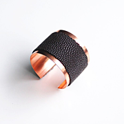 Stingray Cuff Bracelet -Genuine Brown Stingray Leather Cuff Bracelet - Cuff Bracelet- Leather Bracelet- Copper Cuff Bracelet
