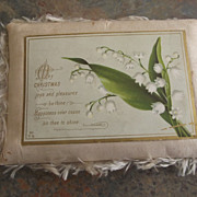 Victorian Christmas Card With Lily of the Valley and Bird