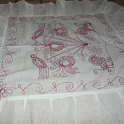 Redwork Cover With Birds