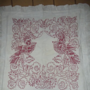 Large Red Work or Turkey Work Pillow Cover