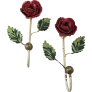 Tole Hooks With Red Roses