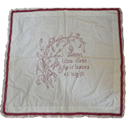 Red Work Table Cover With Lilies