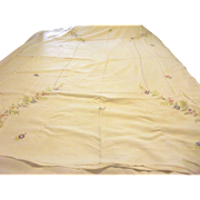 Large Tablecloth With Embroidered Vases of Flowers