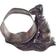 Silver  Plate  Figural Napkin Holder With Dog
