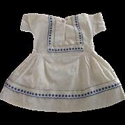 Cotton Dress With Blue Trim