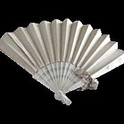 Large Silk Victorian Wedding Fan As Is