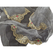 Blue Handkerchief With Rose Rosettes