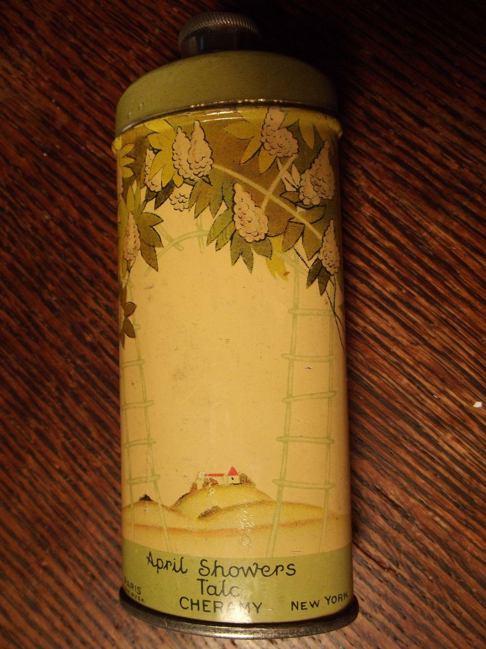 Vintage April Showers Powder Tin