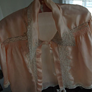 Peach Bed Jacket With Lace