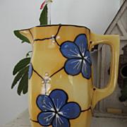 Czech Bern Yellow Ceramic Pitcher Blue Flowers  Country Kitchen Decor Table Decoration