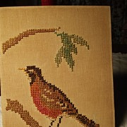 Old Cross Stitch With Robin