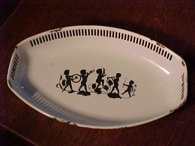 Nice Old Silhouette  Enamelled Dish With Cherubs