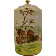 NIppon hand painted scenic lidded jar