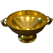 Gold porcelain large handled centerbowl with faces