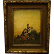 Antique oil painting children MArtha Kinsman Greene Prentiss