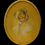 Antique oval watercolor portrait of women E A Matthews