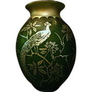Steuben Aurene acid cut back Birds #2 vase lamp base